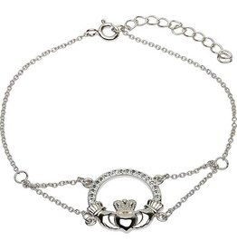 BRACELETS & BANGLES SHANORE STERLING CLADDAGH BRACELET adorned with SWAROVSKI CRYSTALS