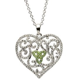 PENDANTS & NECKLACES SHANORE STERLING HEART PENDANT with WHITE & PERIDOT SWAROVSKI CRYSTALS
