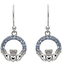 EARRINGS SHANORE STERLING LT SAPPHIRE CLADDAGH EARRINGS with SWAROVSKI CRYSTALS