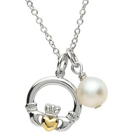 PENDANTS & NECKLACES PlatinumWare CLADDAGH & PEARL PENDANT