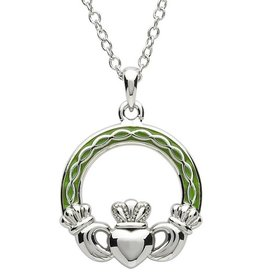 PENDANTS & NECKLACES PlatinumWare GREEN ENAMEL CELTIC CLADDAGH PENDANT