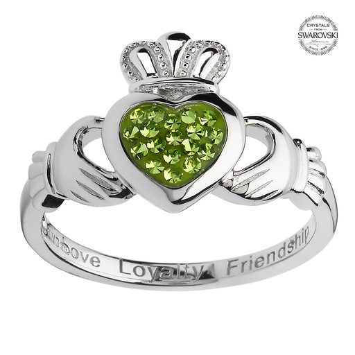 RINGS SHANORE STERLING CLADDAGH with PERIDOT SWAROVSKI CRYSTALS