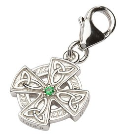 CHARMS CLEARANCE - TARA'S DIARY STERLING CELTIC CROSS CHARM with GRN CZ - FINAL SALE