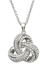 PENDANTS & NECKLACES SHANORE STERLING & SWAROVSKI CRYSTAL CELTIC TWIST LRG TRINITY PENDANT
