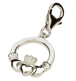 CHARMS CLEARANCE - TARA'S DIARY STERLING & WHITE ENAMEL CLADDAGH CHARM - FINAL SALE