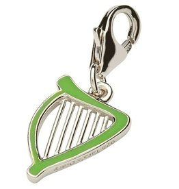 CHARMS CLEARANCE - TARA'S DIARY STERLING & GREEN ENAMEL HARP CHARM - FINAL SALE