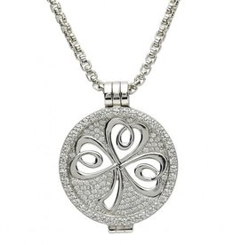 PENDANTS & NECKLACES CLEARANCE - STERLING SILVER EXPRESSIONS SPARKLING SHAMROCK CZ COIN - FINAL SALE
