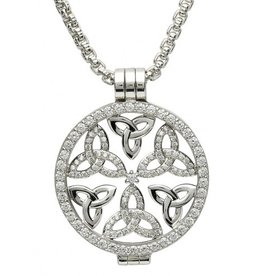 PENDANTS & NECKLACES CLEARANCE - STERLING SILVER EXPRESSIONS SPARKING TRINITY CZ COIN - FINAL SALE