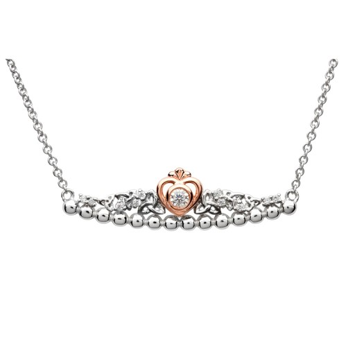 PENDANTS & NECKLACES TARA'S DIARY STERLING TRINITY PRINCESS NECKLACE with CZ & ROSE GOLD PLATE