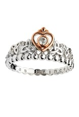 RINGS TARA'S DIARY STERLING TRINITY PRINCESS RING with CZ & ROSE GOLD PLATE