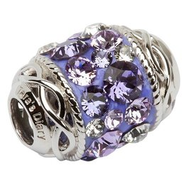 BEADS CLEARANCE - TARA'S DIARY CELTIC PURPLE BARREL BEAD with SWAROVSKI CRYSTALS - FINAL SALE