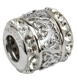 BEADS CLEARANCE - TARA'S DIARY WHITE TRINITY BARREL BEAD with SWAROVSKI CRYSTALS - FINAL SALE