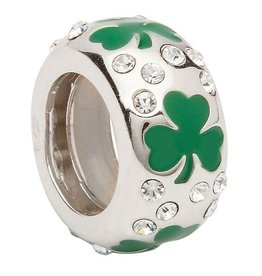 BEADS CLEARANCE - ORIGINS SOLID SHAMROCK BEAD with SWAROVSKI CRYSTAL - FINAL SALE