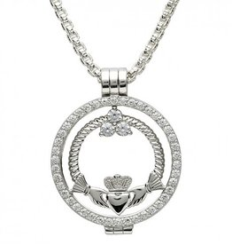 PENDANTS & NECKLACES CLEARANCE - STERLING SILVER EXPRESSIONS CLADDAGH TWIST CZ COIN - FINAL SALE