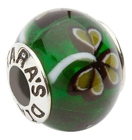BEADS CLEARANCE - TARA'S DIARY GLASS GREEN SHAMROCK BEAD - FINAL SALE
