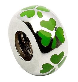 BEADS CLEARANCE - TARA'S DIARY GREEN ENAMEL SPACER SHAMROCK BEAD - FINAL SALE