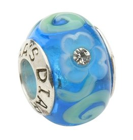 BEADS CLEARANCE - TARA'S DIARY BLUE SHAMROCK & SPIRAL WITH CRYSTALS BEAD - FINAL SALE