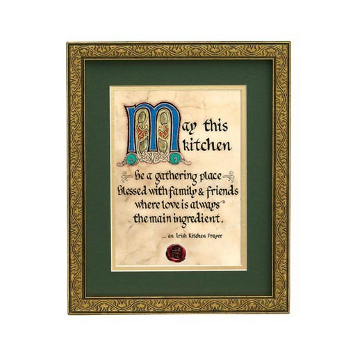"PLAQUES & GIFTS ""IRISH KITCHEN PRAYER"" MANUSCRIPT 8x10 PLAQUE"