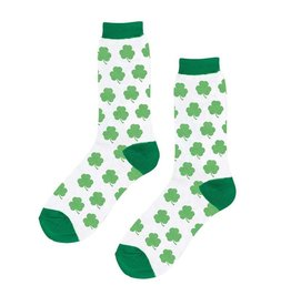 ACCESSORIES NOVELTY SHAMROCK CREW SOCKS - WHITE