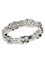 RINGS SHANORE STERLING CELTIC KNOT BAND with DIAMONDS