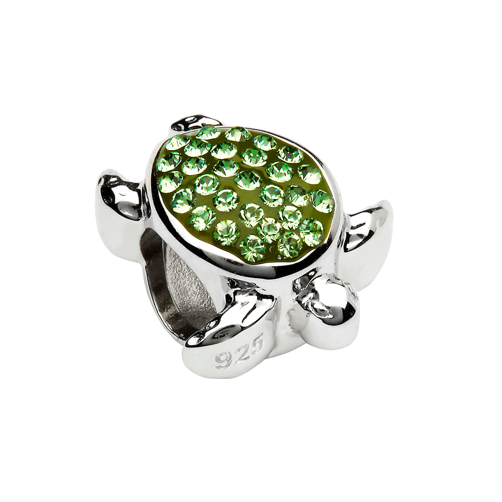 BEADS OCEANS GRN TURTLE BEAD with SWAROVSKI CRYSTALS