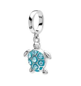 BEADS OCEANS AQUA TURTLE BEAD with SWAROVSKI CRYSTALS