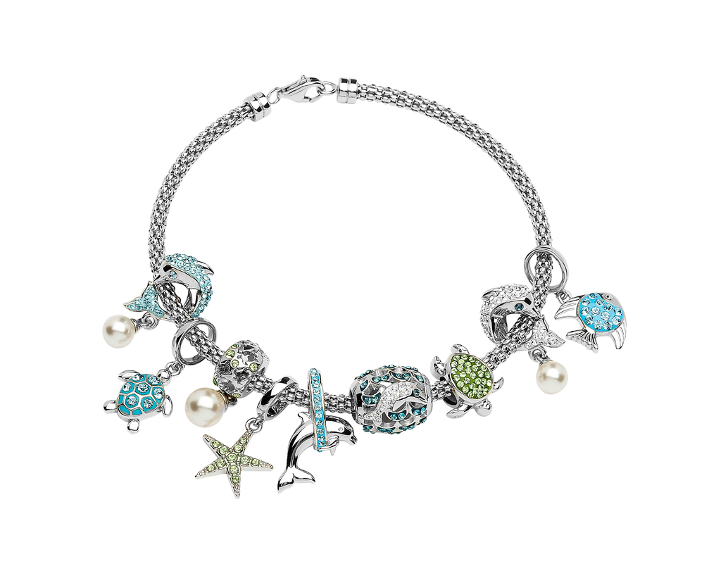 BEADS OCEAN AQUA TURTLE BEAD with SWAROVSKI CRYSTALS