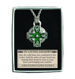 RELIGIOUS MEMORIAL KEEPSAKE VIAL CROSS PENDANT