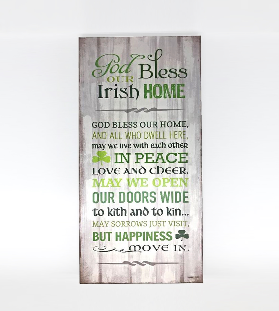 PLAQUES & GIFTS GOD BLESS OUR IRISH HOME PLAQUE 9X18