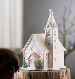 HOLIDAY BELLEEK LIVING CHURCH LAMP
