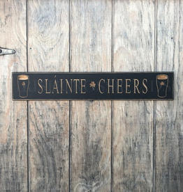 """PLAQUES, SIGNS & POSTERS """"SLAINTE / CHEERS"""" CARVED WOOD PUB SIGN"""
