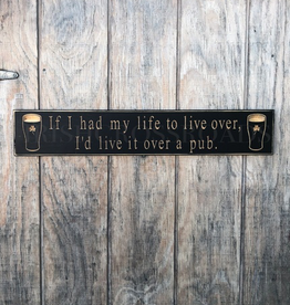"""PLAQUES & GIFTS """"IF I HAD MY LIFE TO LIVE OVER…"""" CARVED WOOD PUB SIGN"""