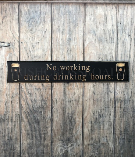 """PLAQUES, SIGNS & POSTERS """"NO WORKING DURING…"""" CARVED WOOD PUB SIGN"""