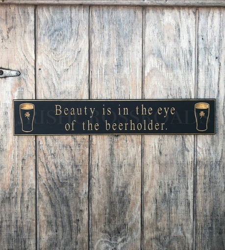 """PLAQUES, SIGNS & POSTERS """"BEAUTY IS IN THE EYE…"""" CARVED WOOD PUB SIGN"""