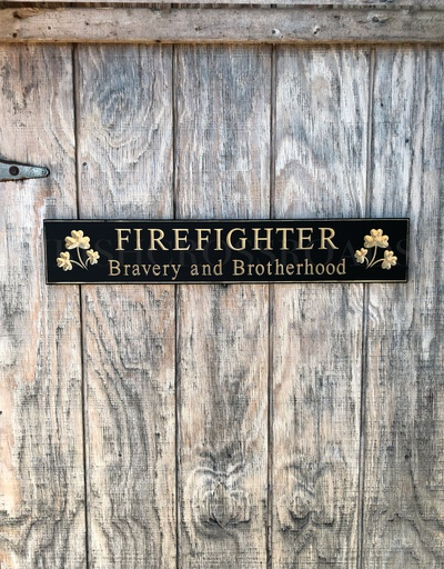 """PLAQUES, SIGNS & POSTERS """"FIREFIGHTER"""" CARVED WOOD SIGN"""
