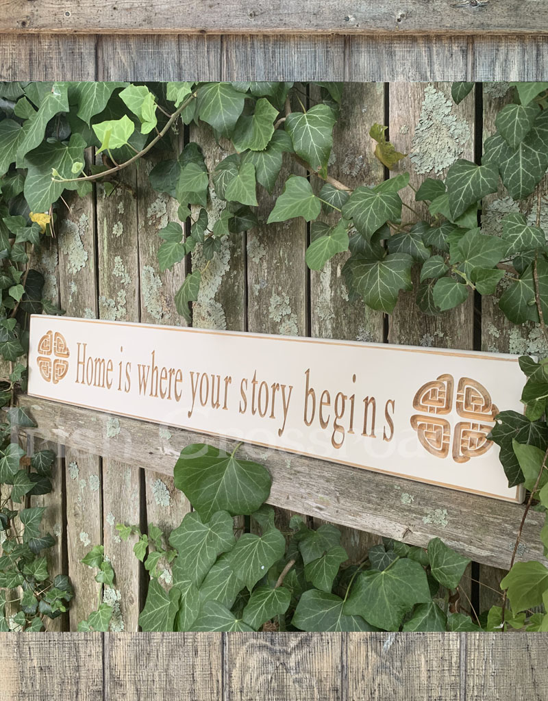 """PLAQUES, SIGNS & POSTERS """"HOME IS WHERE..."""" CARVED WOOD SIGN"""
