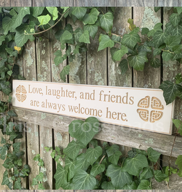 "PLAQUES, SIGNS & POSTERS ""LOVE, LAUGHTER, and FRIENDS…"" CARVED WOOD SIGN"