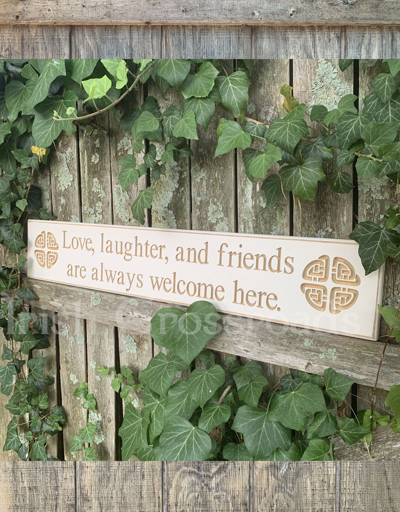 """PLAQUES, SIGNS & POSTERS """"LOVE, LAUGHTER, and FRIENDS…"""" CARVED WOOD SIGN"""