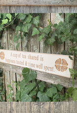 """PLAQUES, SIGNS & POSTERS """"A CUP OF TEA SHARED…"""" CARVED WOOD SIGN"""