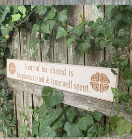 "PLAQUES, SIGNS & POSTERS ""A CUP OF TEA SHARED…"" CARVED WOOD SIGN"
