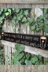 """PLAQUES, SIGNS & POSTERS """"HERE'S TO A LONG LIFE…"""" CARVED WOOD PUB SIGN"""