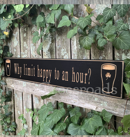 "PLAQUES, SIGNS & POSTERS ""WHY LIMIT HAPPY TO AN HOUR?"" CARVED WOOD PUB SIGN"
