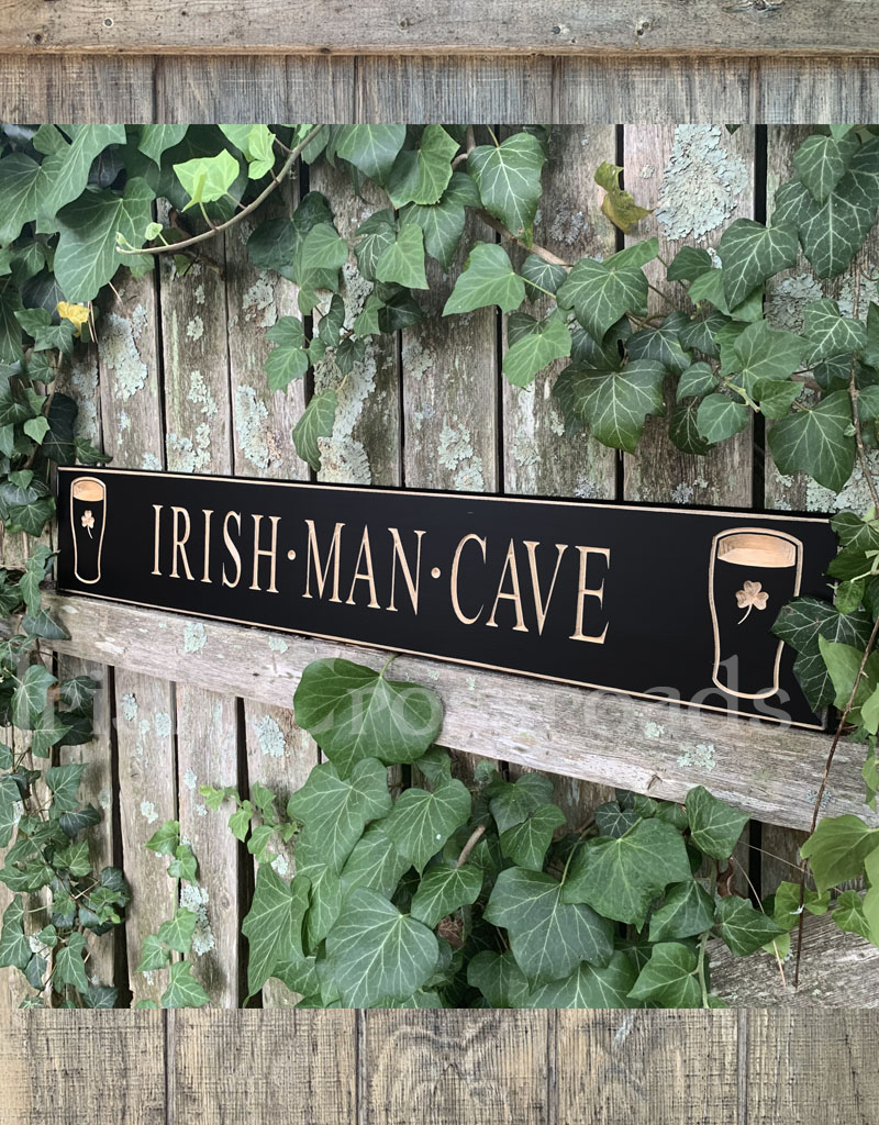 "PLAQUES, SIGNS & POSTERS ""IRISH MAN CAVE"" CARVED WOOD PUB SIGN"