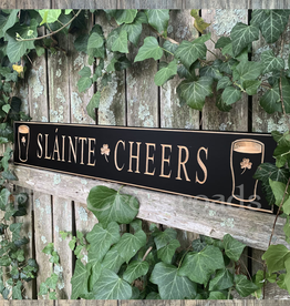 "PLAQUES, SIGNS & POSTERS ""SLAINTE / CHEERS"" CARVED WOOD PUB SIGN"
