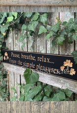 """PLAQUES, SIGNS & POSTERS """"PAUSE BREATHE RELAX…"""" CARVED WOOD SIGN"""