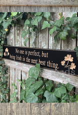 """PLAQUES, SIGNS & POSTERS """"NO ONE IS PERFECT…"""" CARVED WOOD SIGN"""