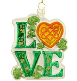 "ORNAMENTS IRISH ""LOVE"" GLASS ORNAMENT"