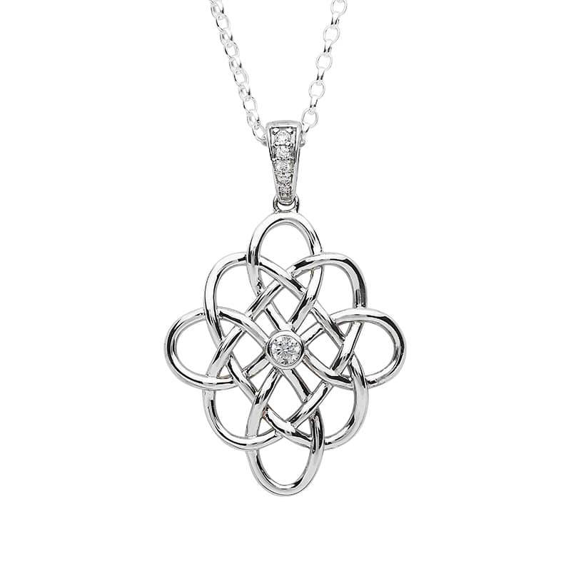 PENDANTS & NECKLACES FADO STERLING CELTIC PENDANT with CZ CENTER and STONE-SET BALE