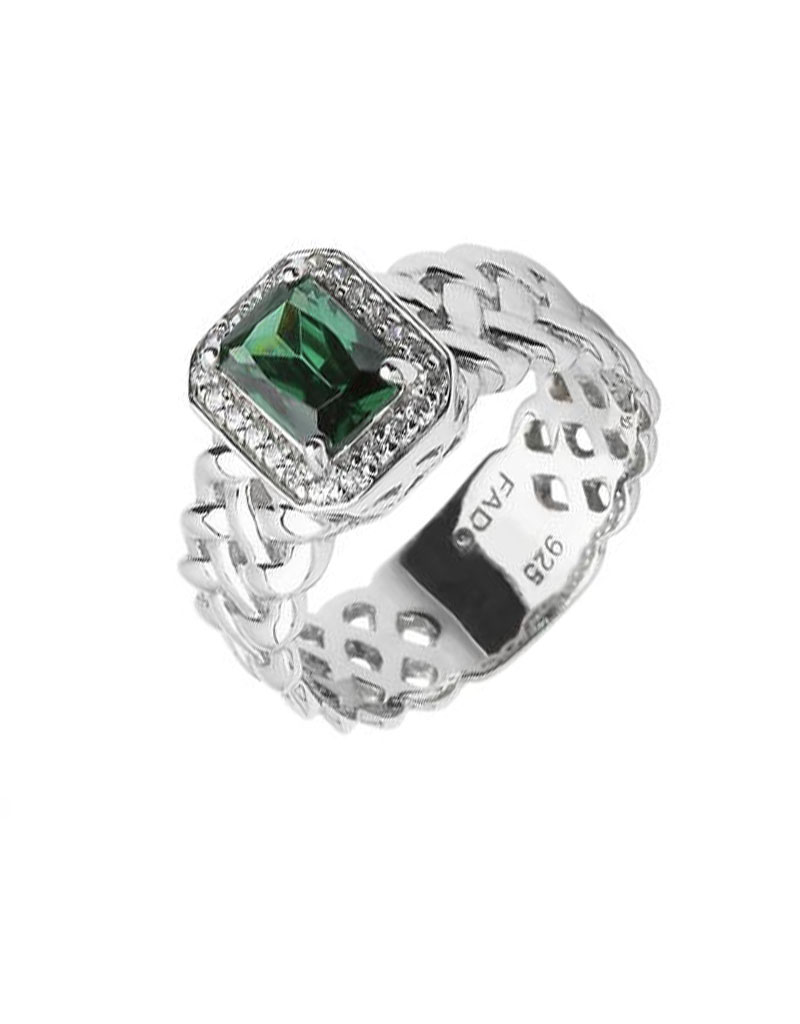 RINGS FADO SHEELIN PAVE RING with GRN STONE
