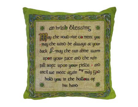 TAPESTRIES, THROWS, ETC. CELTIC WEAVE 12x12 PILLOW - Irish Blessing